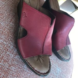 Born red leather wedge mules
